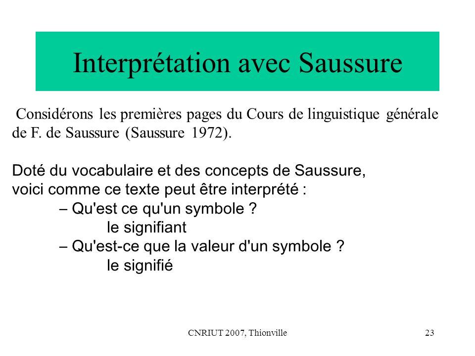 Interprétation avec Saussure