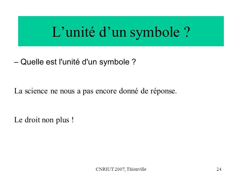 L'unité d'un symbole – Quelle est l unité d un symbole