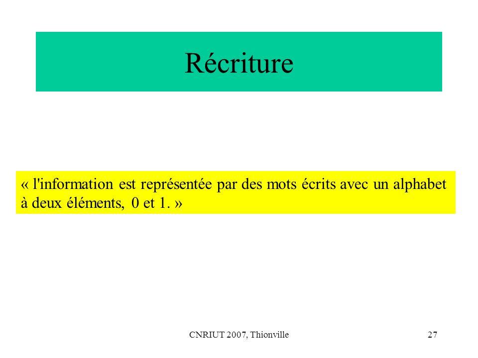 Récriture « l information est représentée par des mots écrits avec un alphabet. à deux éléments, 0 et 1. »