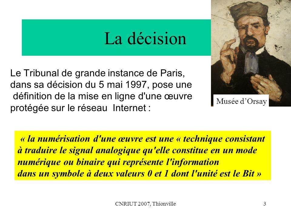 La décision Le Tribunal de grande instance de Paris,