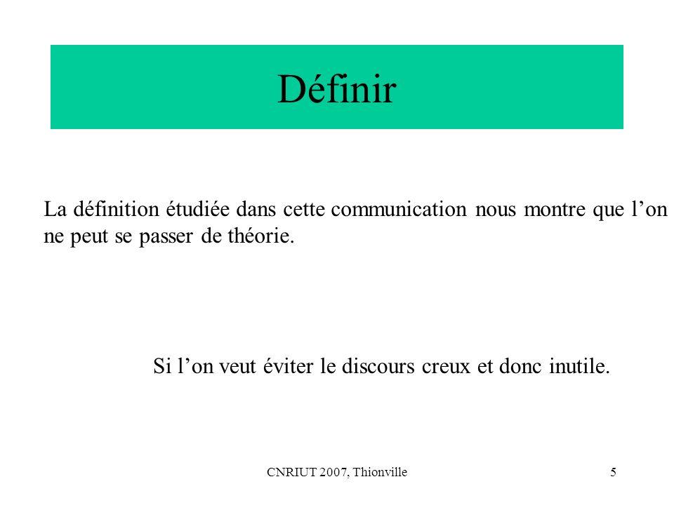 Définir La définition étudiée dans cette communication nous montre que l'on. ne peut se passer de théorie.