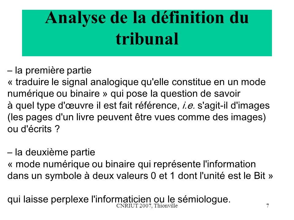 Analyse de la définition du tribunal