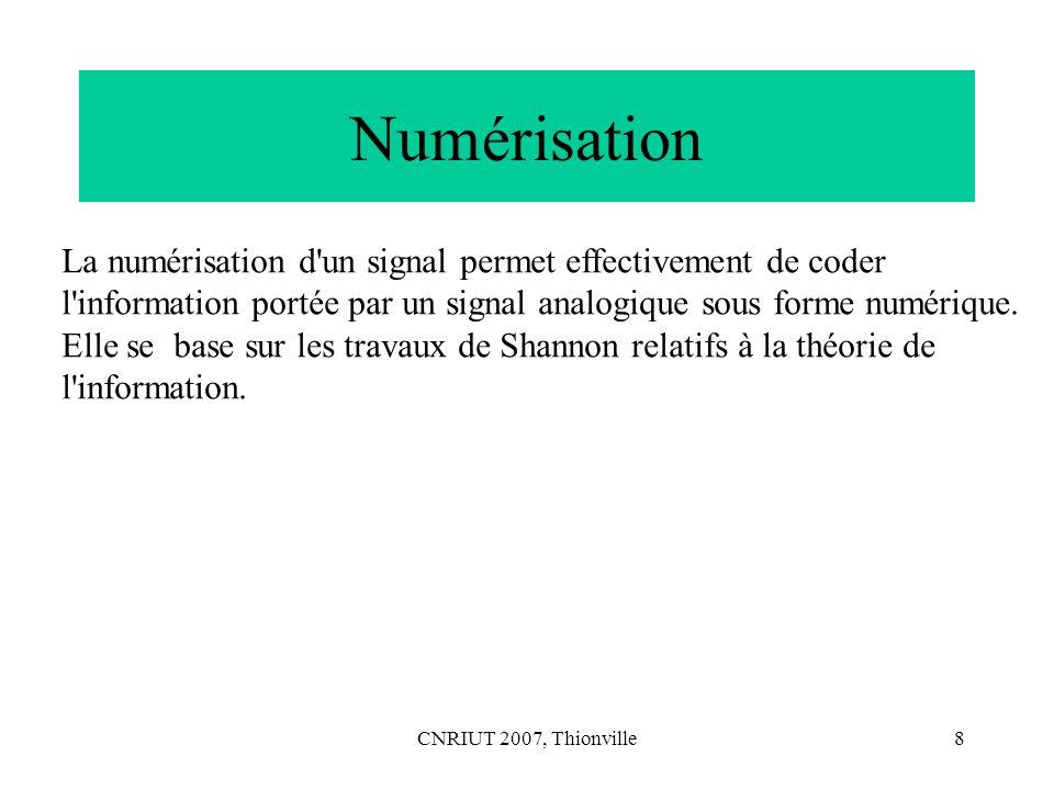 Numérisation La numérisation d un signal permet effectivement de coder