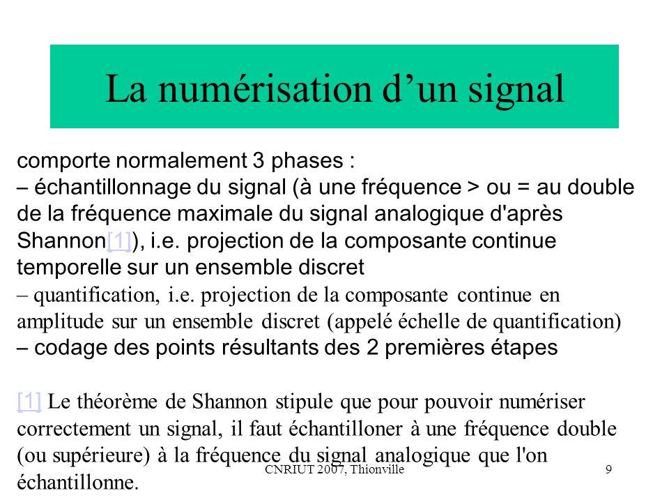 La numérisation d'un signal