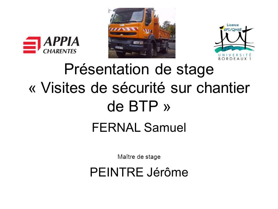 Présentation de stage « Visites de sécurité sur chantier de BTP »