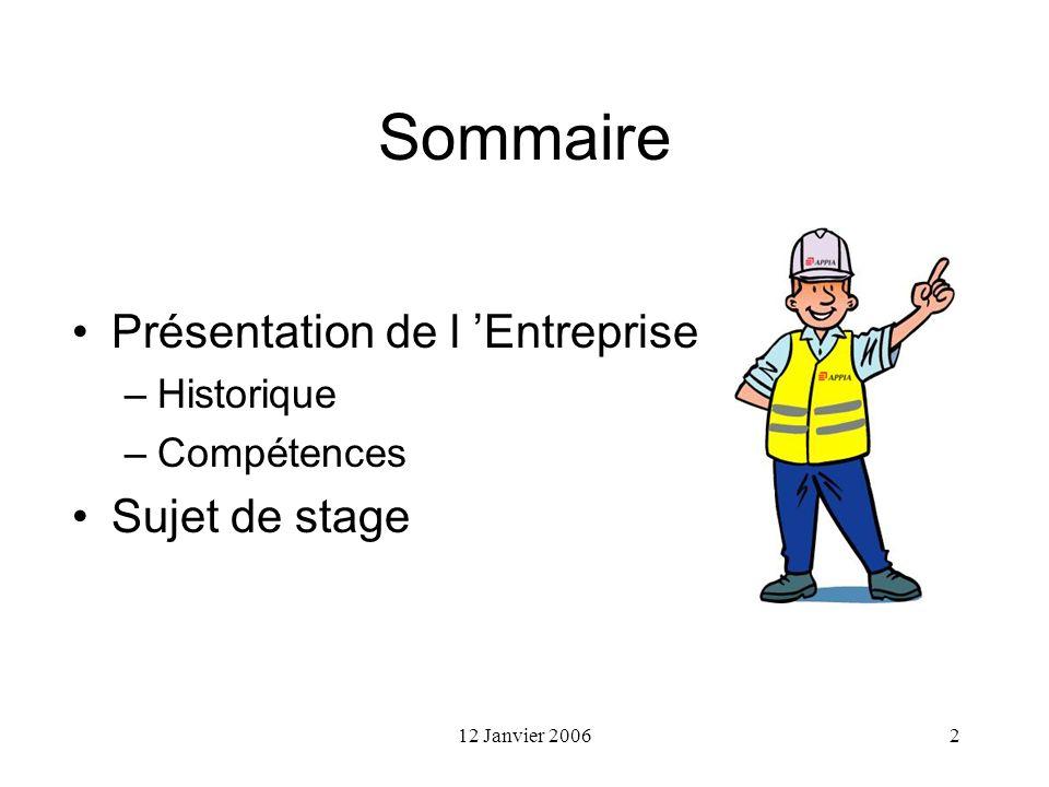 Sommaire Présentation de l 'Entreprise Sujet de stage Historique