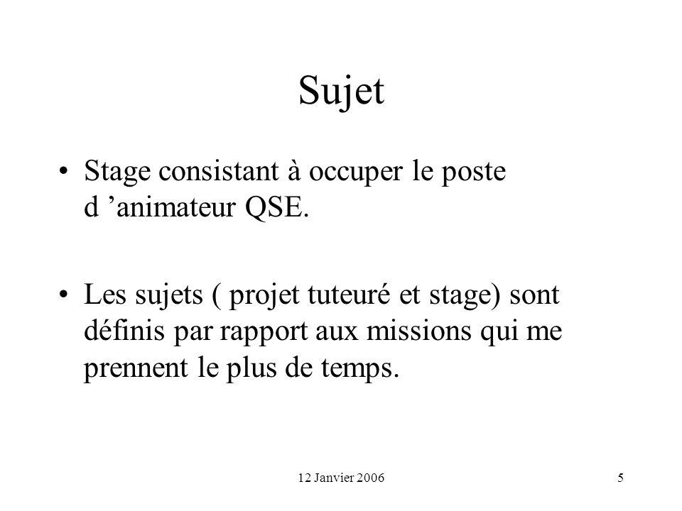 Sujet Stage consistant à occuper le poste d 'animateur QSE.