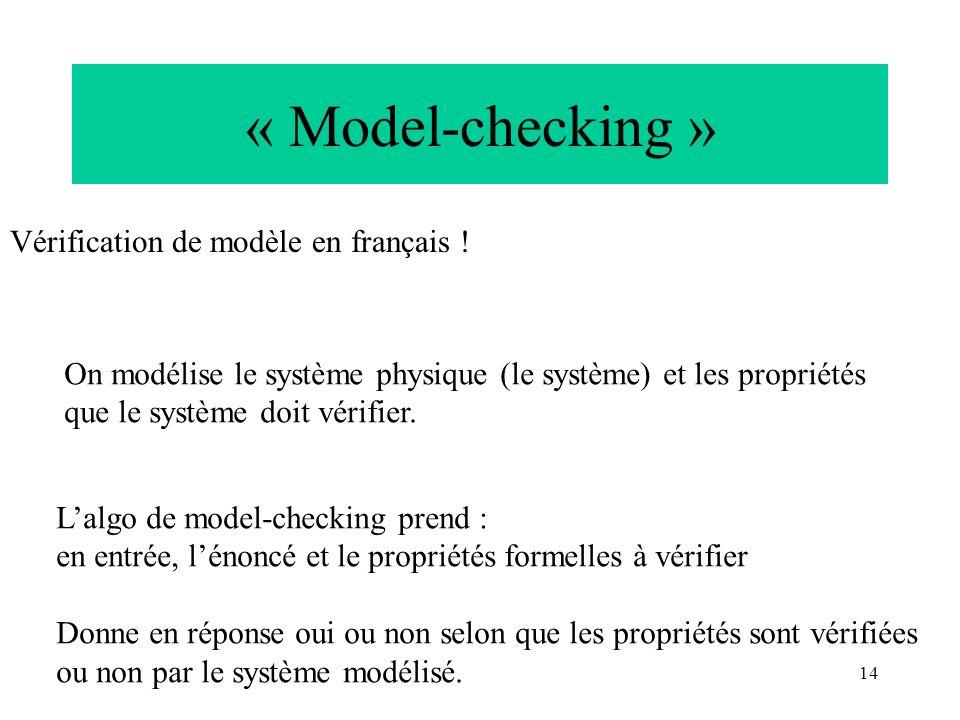 « Model-checking » Vérification de modèle en français !