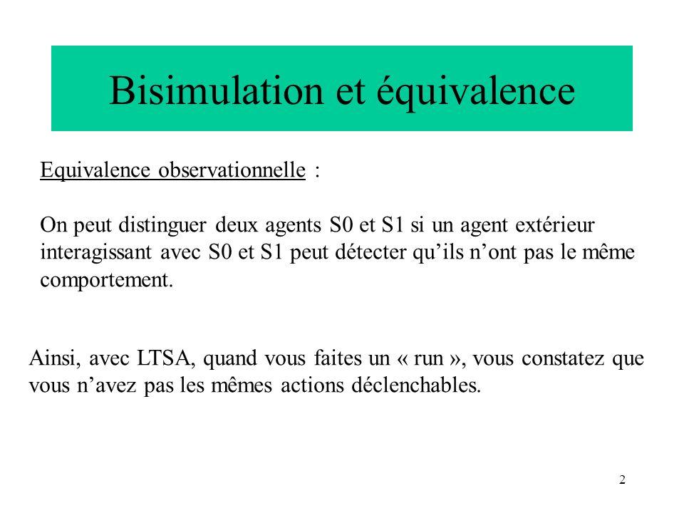 Bisimulation et équivalence