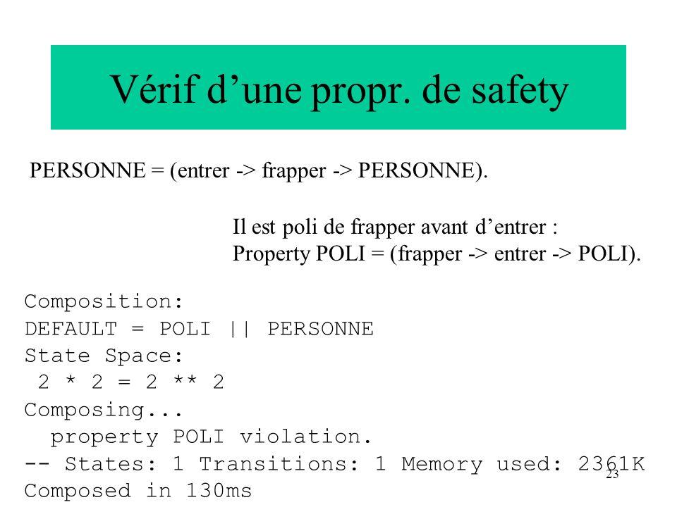 Vérif d'une propr. de safety