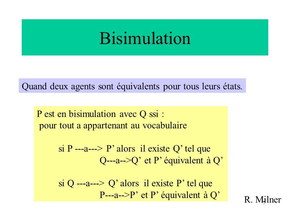 Bisimulation Quand deux agents sont équivalents pour tous leurs états.