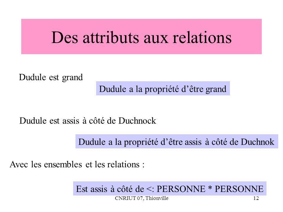 Des attributs aux relations