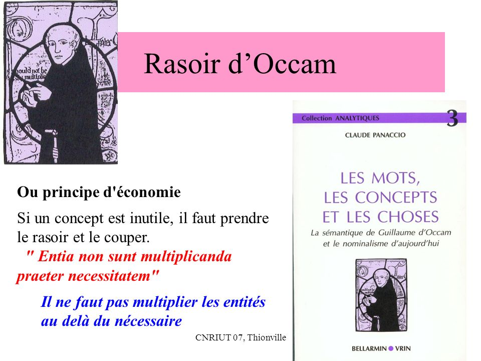Rasoir d'Occam Ou principe d économie