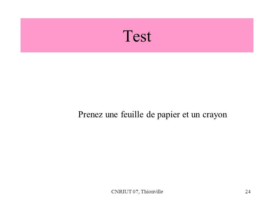 Test Prenez une feuille de papier et un crayon CNRIUT 07, Thionville