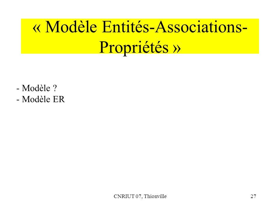 « Modèle Entités-Associations-Propriétés »
