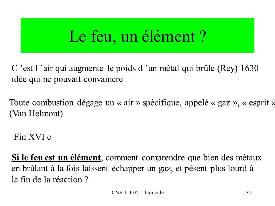 Le feu, un élément C 'est l 'air qui augmente le poids d 'un métal qui brûle (Rey) 1630. idée qui ne pouvait convaincre.