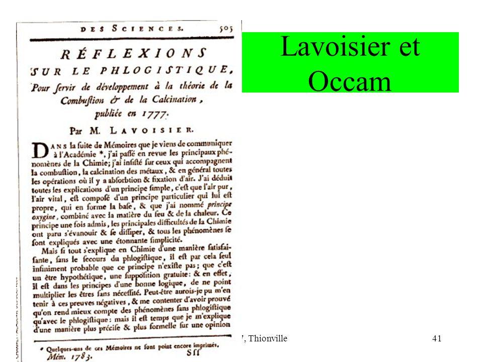 Lavoisier et Occam CNRIUT 07, Thionville