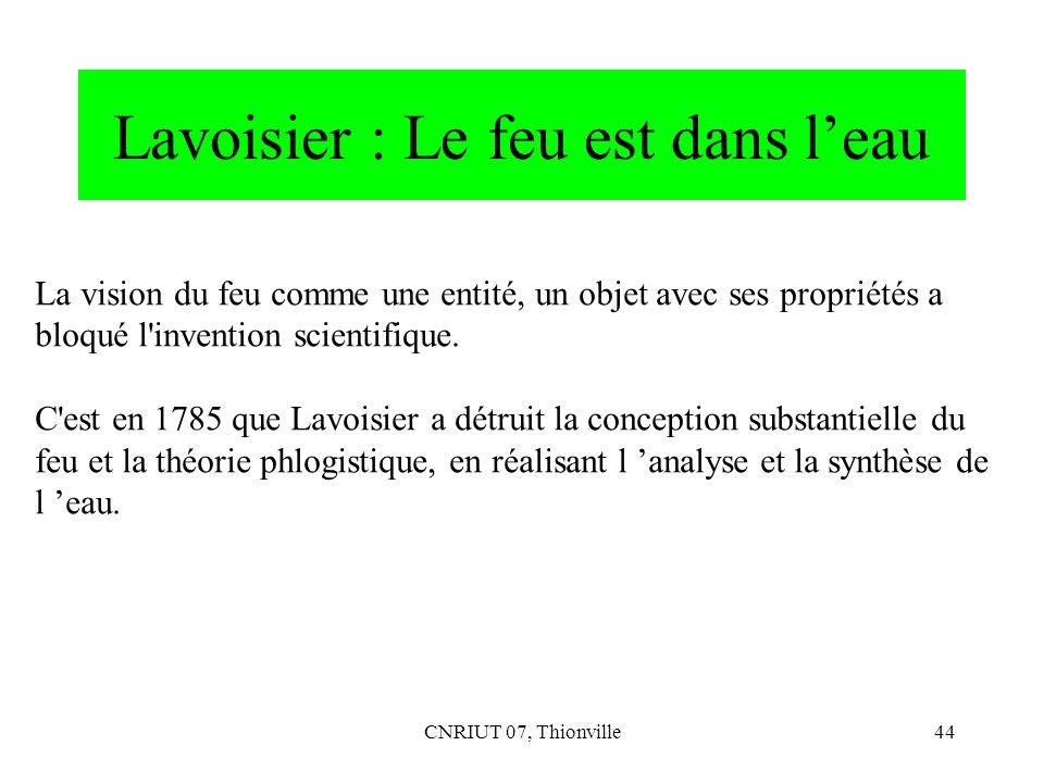 Lavoisier : Le feu est dans l'eau