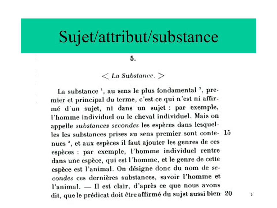 Sujet/attribut/substance