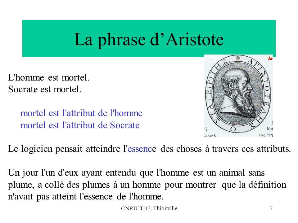 La phrase d'Aristote L homme est mortel. Socrate est mortel.