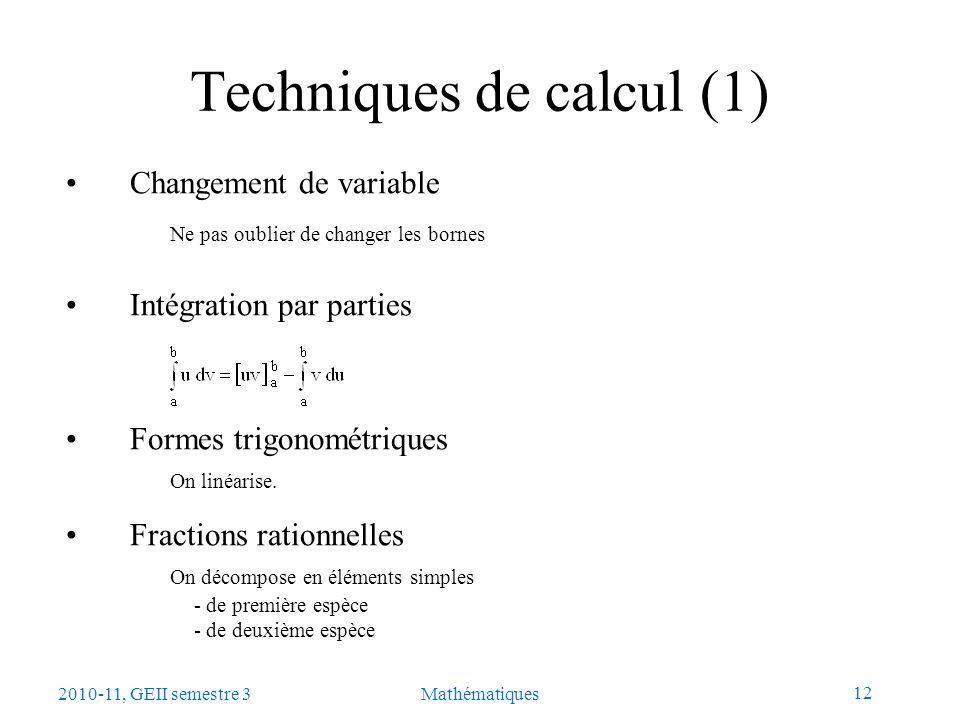 Techniques de calcul (1)