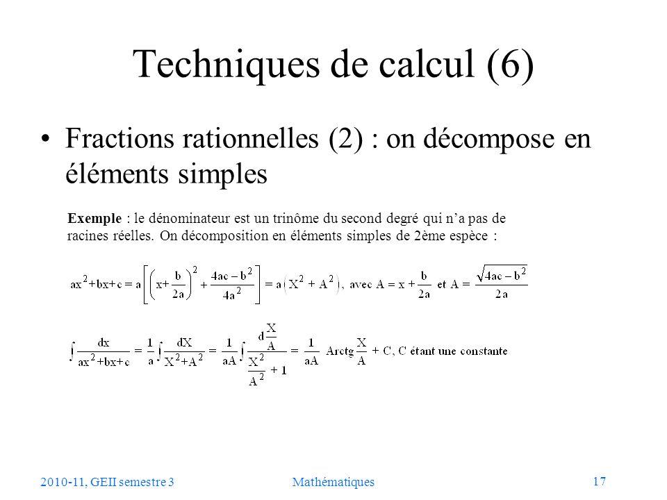 Techniques de calcul (6)