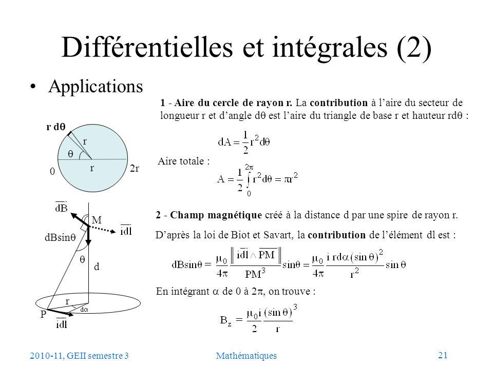 Différentielles et intégrales (2)