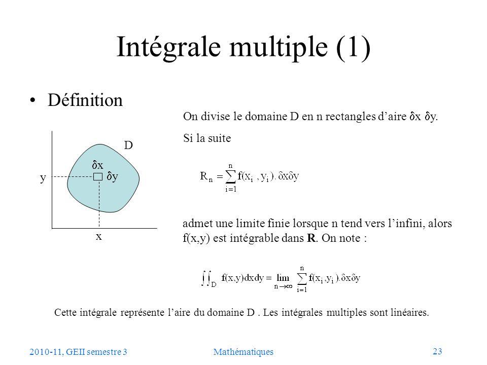 Intégrale multiple (1) Définition