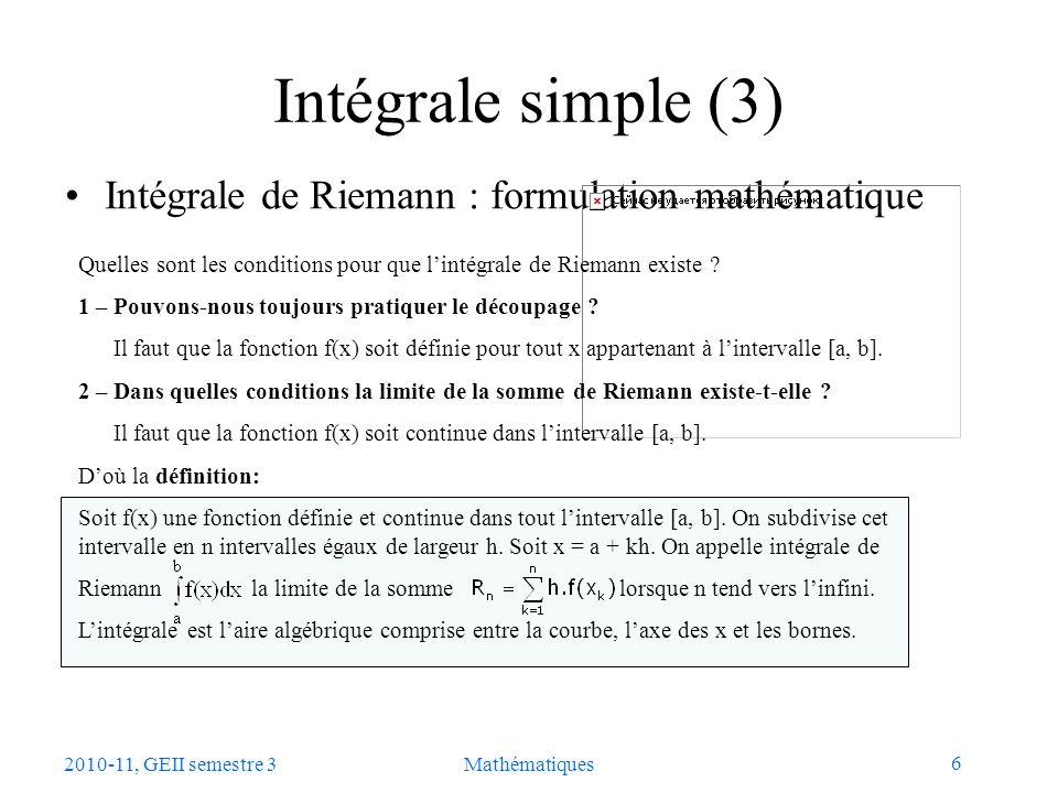 Intégrale simple (3) Intégrale de Riemann : formulation mathématique