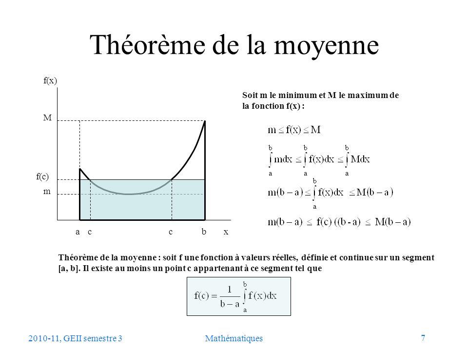 Théorème de la moyenne a b m M f(x) x f(c) c