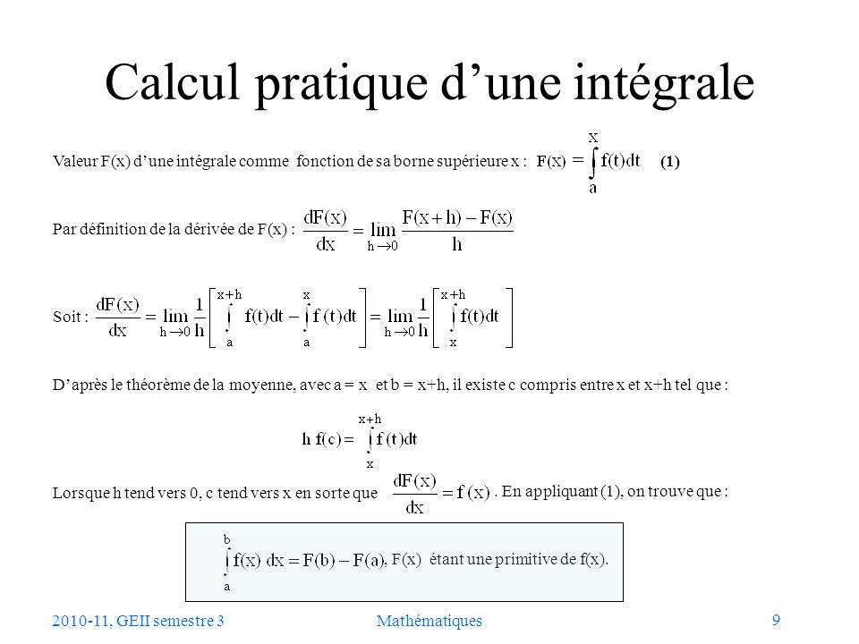 Calcul pratique d'une intégrale