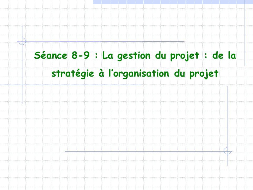 Séance 8-9 : La gestion du projet : de la stratégie à l'organisation du projet