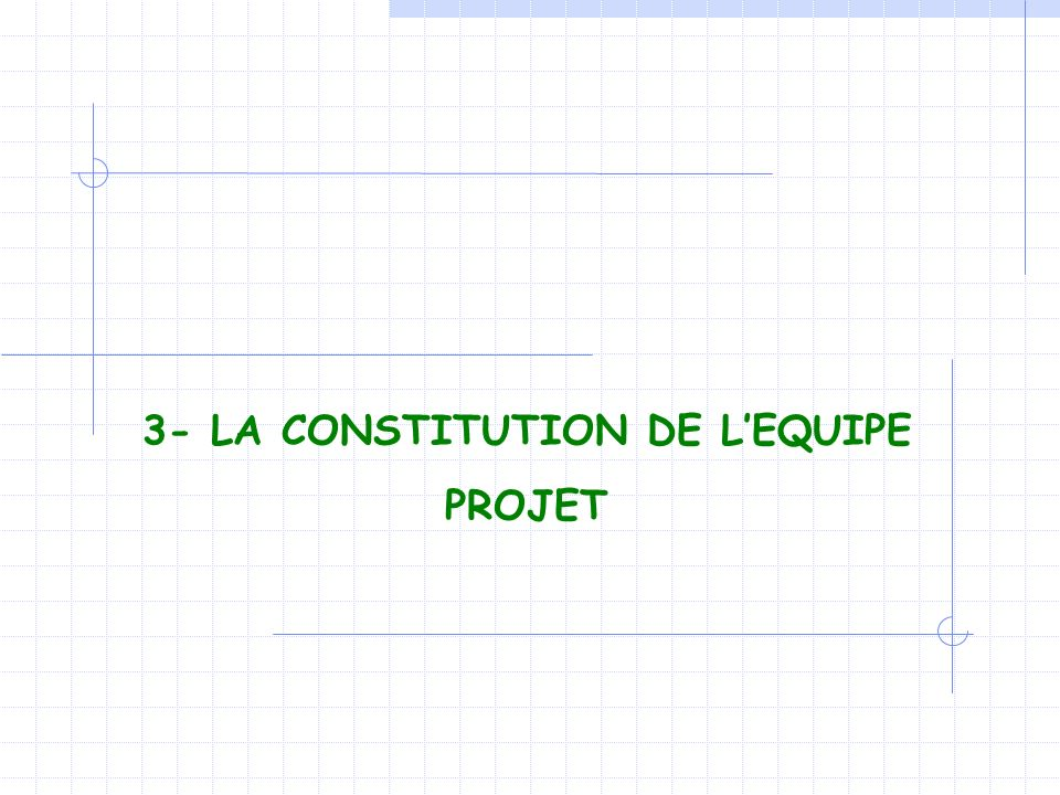 3- LA CONSTITUTION DE L'EQUIPE PROJET
