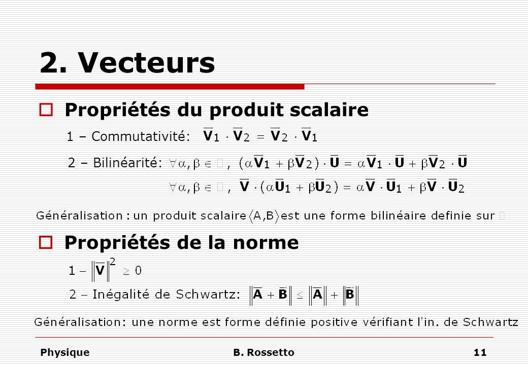 2. Vecteurs Propriétés du produit scalaire Propriétés de la norme