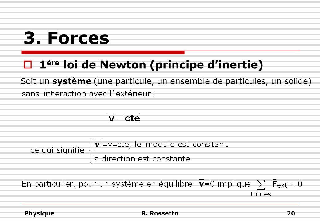 3. Forces 1ère loi de Newton (principe d'inertie)