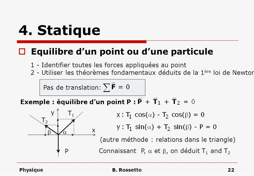 4. Statique Equilibre d'un point ou d'une particule
