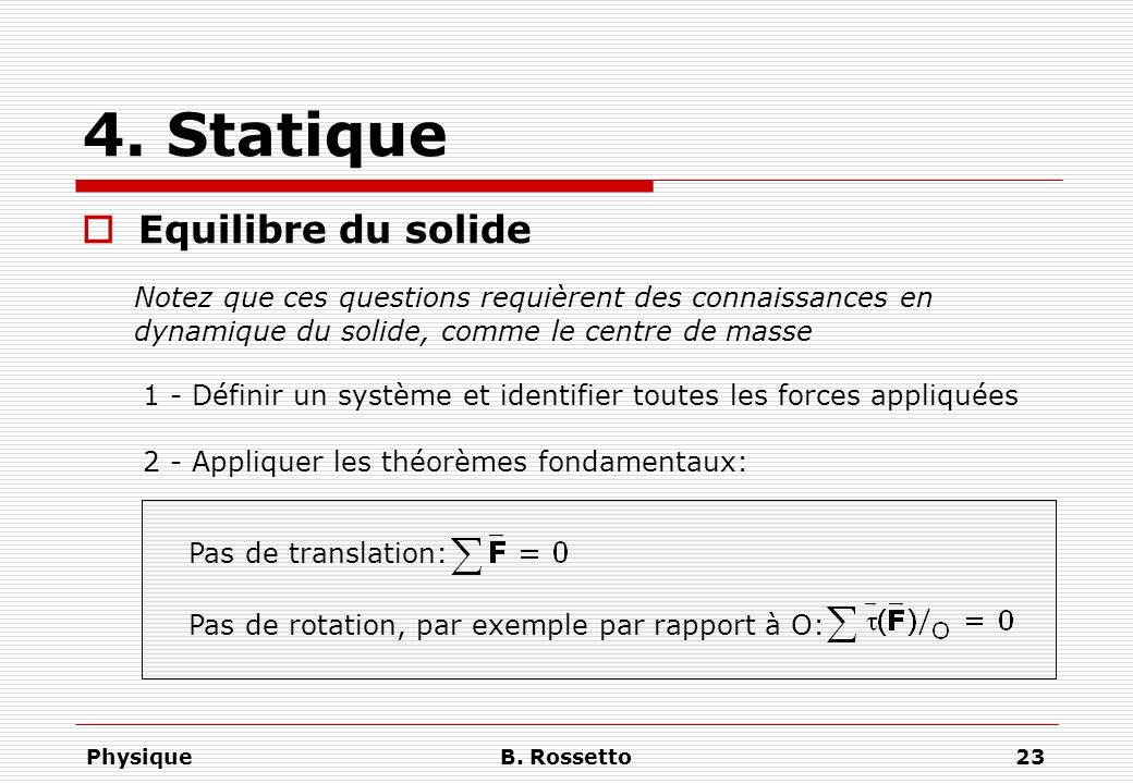 4. Statique Equilibre du solide