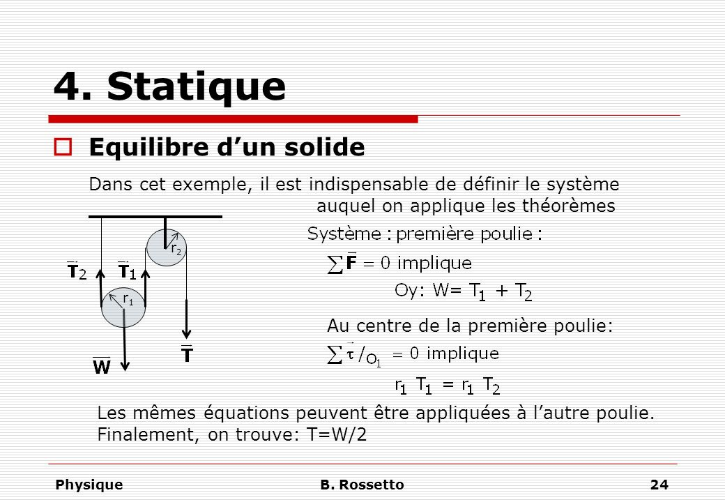 4. Statique Equilibre d'un solide