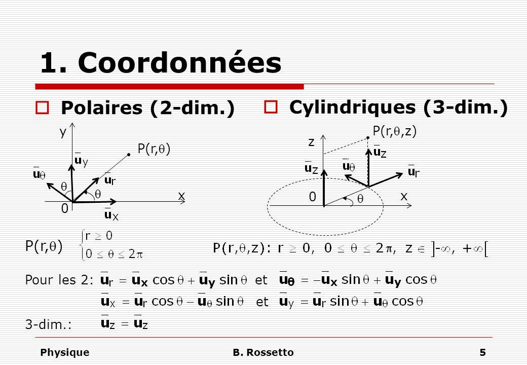 1. Coordonnées Polaires (2-dim.) Cylindriques (3-dim.) P(r,q) y
