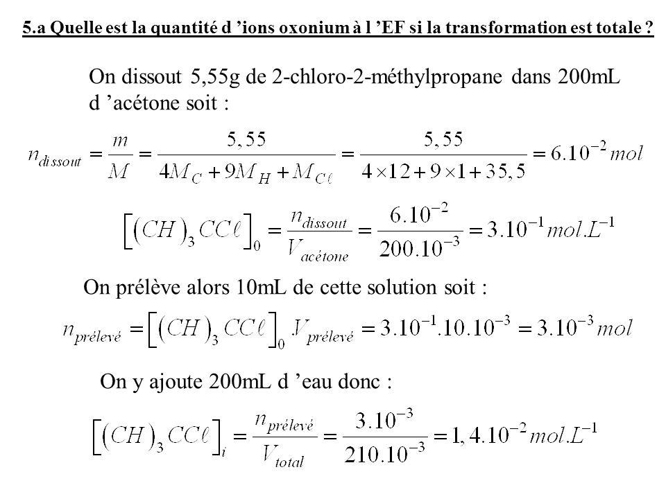 On prélève alors 10mL de cette solution soit :