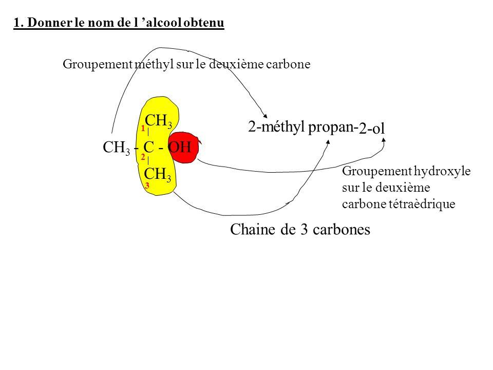 CH3 - C - OH CH3 2-méthyl propan- 2-ol Chaine de 3 carbones