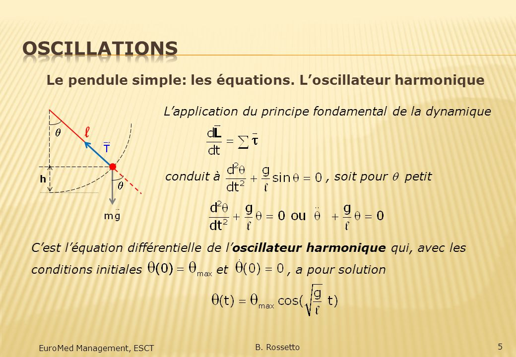 Oscillations Le pendule simple: les équations. L'oscillateur harmonique. L'application du principe fondamental de la dynamique.