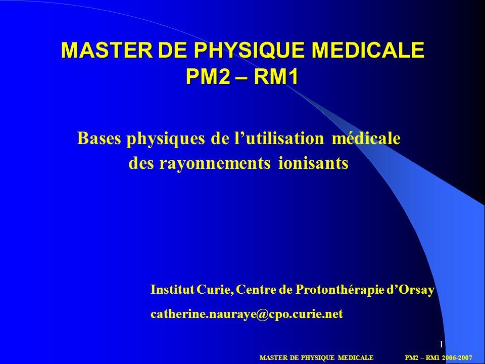MASTER DE PHYSIQUE MEDICALE PM2 – RM1