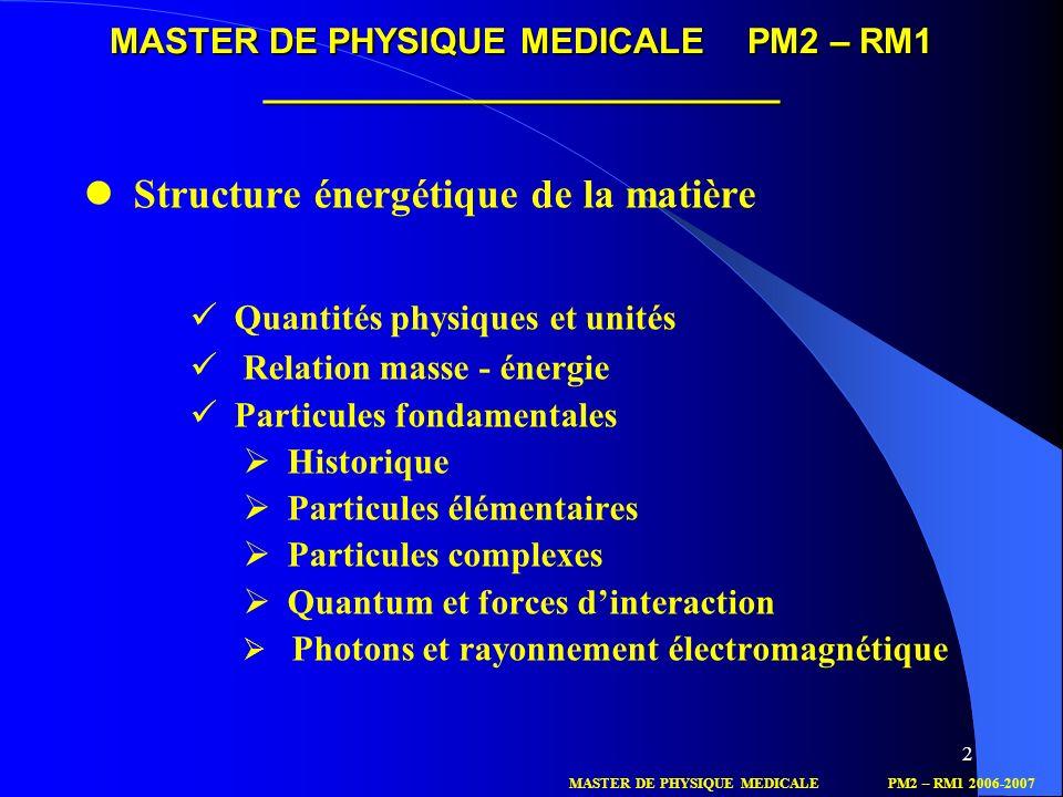 MASTER DE PHYSIQUE MEDICALE PM2 – RM1 __________________________