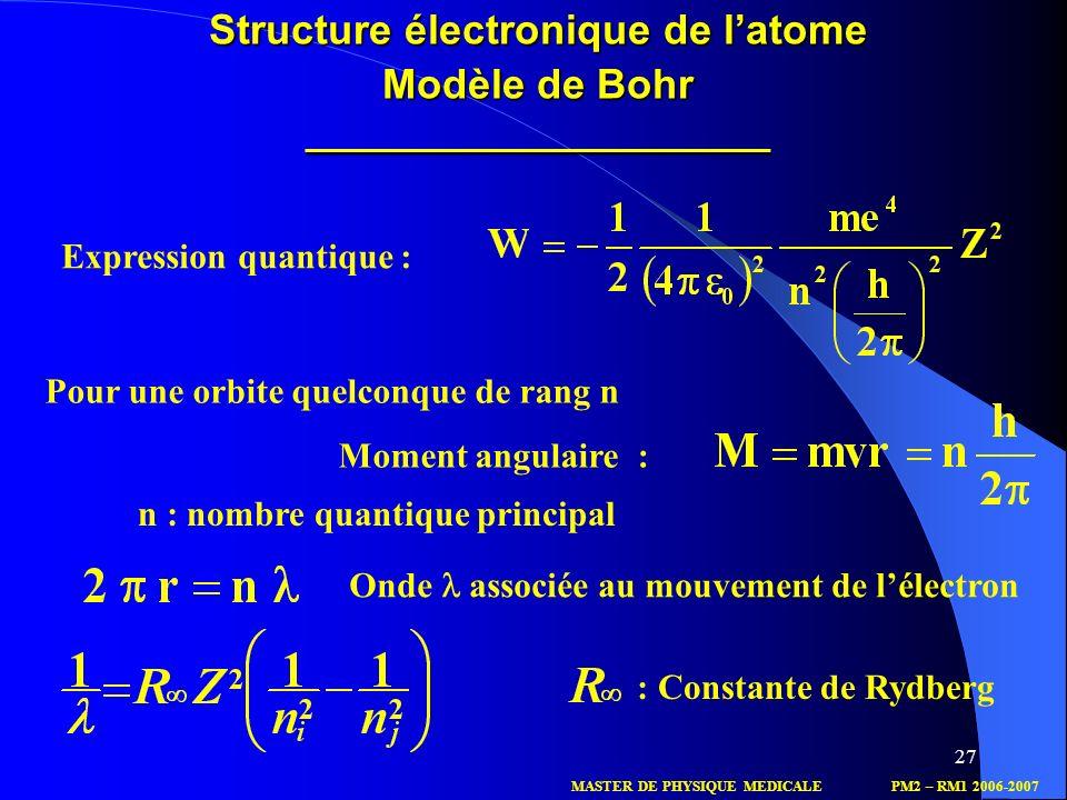 n : nombre quantique principal