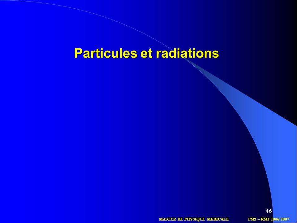 Particules et radiations