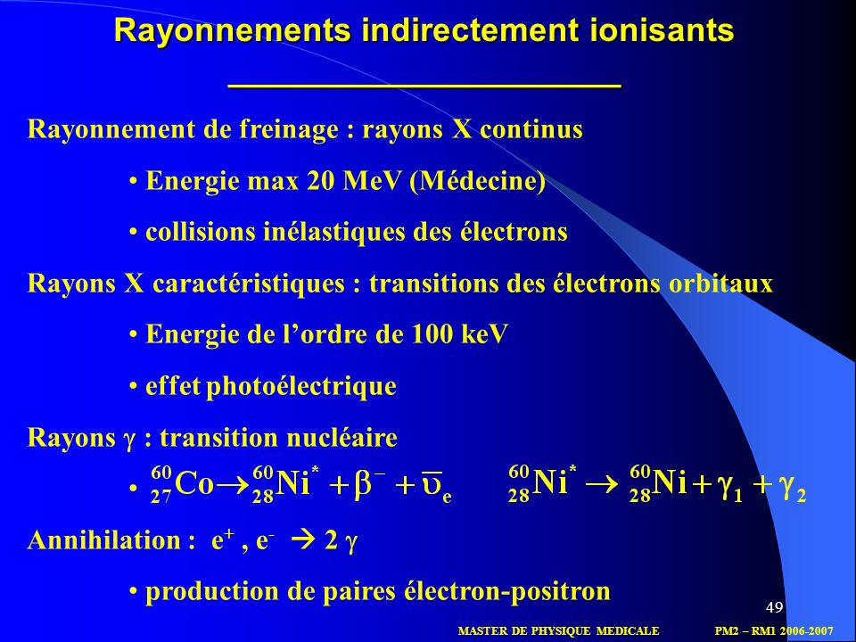 Rayonnements indirectement ionisants _____________________
