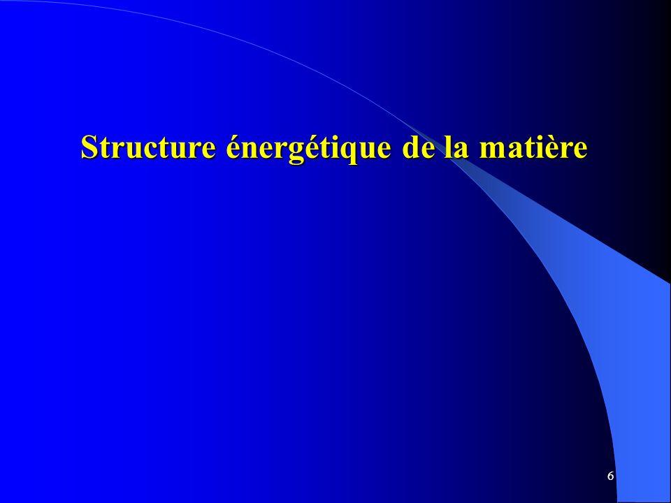 Structure énergétique de la matière