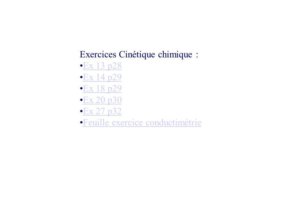 Exercices Cinétique chimique :