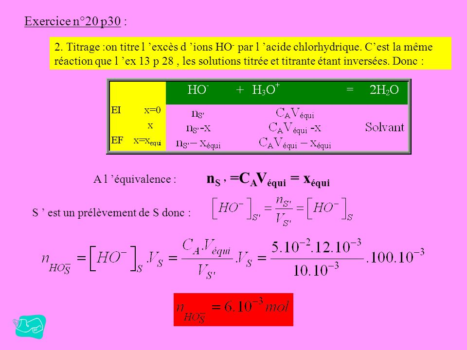 nS ' =CAVéqui = xéqui Exercice n°20 p30 :